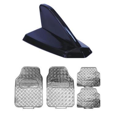 Antena Shark Preta Decorativa Tapete Crom Ford Focus Sedan