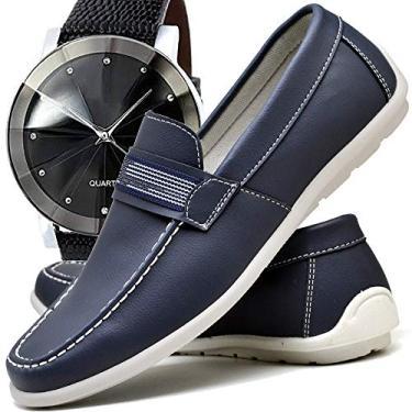 Sapato Mocassim Casual Drive Masculino ZARU GORGEUS e Relógio Luxo (41, Azul/Marinho)