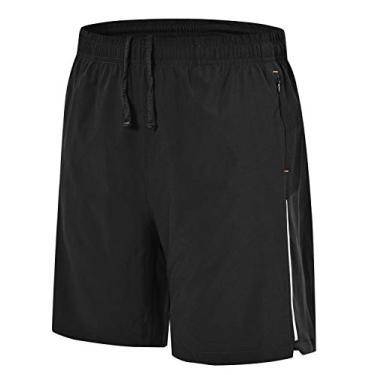 Imagem de Shorts de corrida masculino Rdruko para treino e secagem rápida, shorts leves para academia com forro de malha, Preto, Small