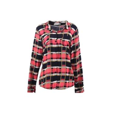 Camisa Xadrez Feminina Com Botões Manga Longa Gola Clássica
