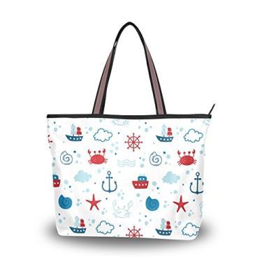 ColourLife Bolsa feminina com alça superior, design de tema marítimo, bolsa de ombro, Multicolorido., Medium