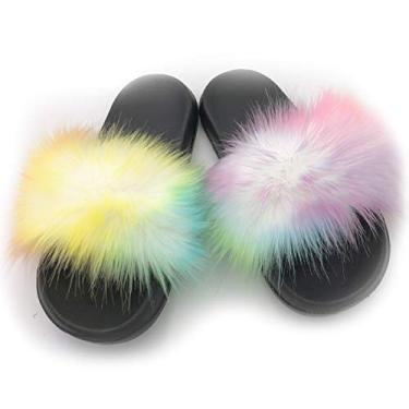 Sandália feminina de pele com bico aberto e forro macio de pele de raposa sintética, Rainbow Colors, 9