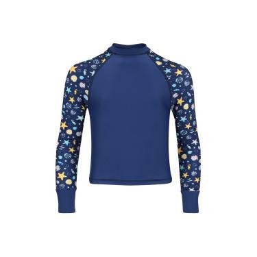 Camiseta Manga Longa com Proteção Solar Oxer Shell Feminina - Infantil -  AZUL ESC AZUL e7b488183ee