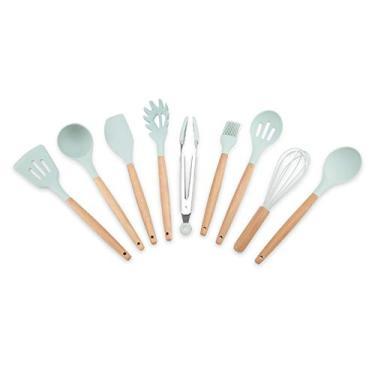 Imagem de Conjunto de utensílios de cozinha com cabo de madeira de silicone, utensílios de cozinha, 9 peças/conjunto de utensílios de cozinha antiaderentes para cozinha doméstica