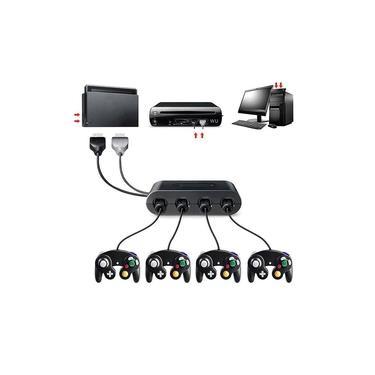 Adaptador de controle 4 portas para Gamecube para Wii U, PC USB e Switch