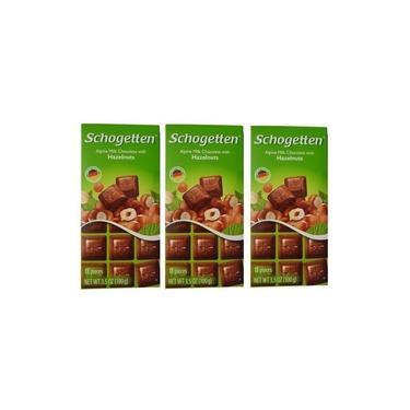 Kit 3 Barras Chocolate Alemão Aoleite Avelã Schogetten 100g