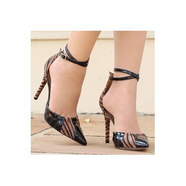 Sapato Di Cristalli Verniz Preto Feminino 4201591