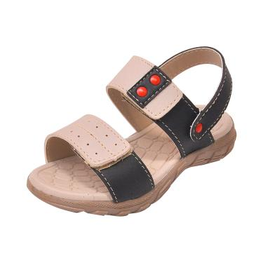 Sandália Infantil Raniel Calçados Papete Velcro Marfim Preto  menino