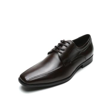 Sapato Social Couro Democrata Liso Marrom Democrata 244101-002 masculino