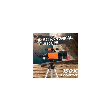 70mm / 300mm Refrator Telescópio Astronômico 150X Espaço Céu Lua Observação Monocular Espaço Astronomia Com Trpod