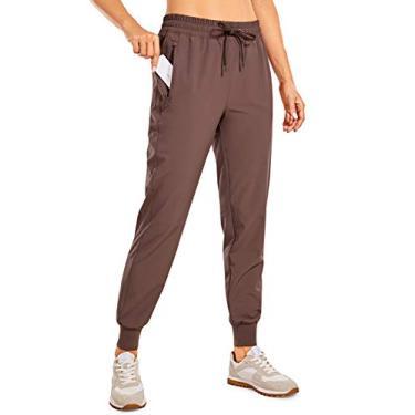 CRZ YOGA Calça jogging feminina leve com bolsos, cordão e cintura elástica, Bolsos roxos com zíper, XL