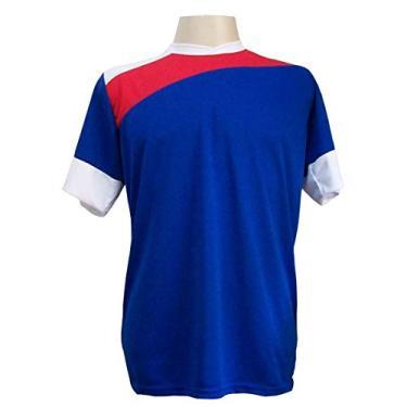 Imagem de Jogo de Camisa com 14 unidades modelo Sporting Royal/Vermelho/Branco + Brindes