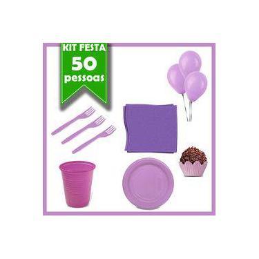 Kit Descartáveis Lilás 50 Pessoas