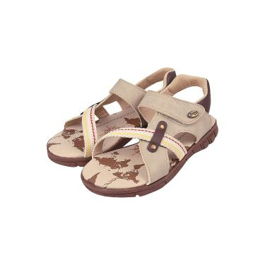 Sandália Papete Infantil Menino Macia Conforto Velcro Marfim  menino