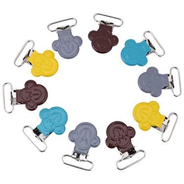 10 Pcs Grampos de Metal Suspender, 25mm Colorido Mini Macaco Em Forma de Suspensórios Suspensórios Chupeta Titular Cinta Bib Clip Correias Fivela DIY Fazendo suprimentos