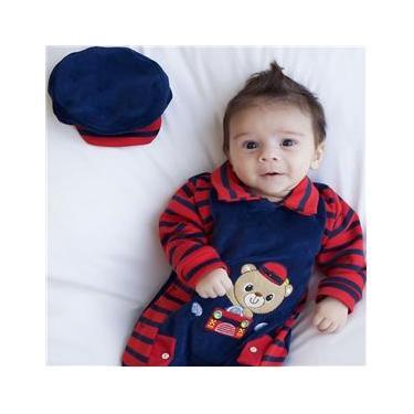 Saída de Maternidade Menino Ursinho Lulu Azul e Vermelho RN