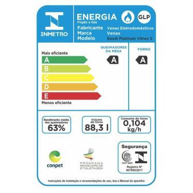 Imagem de FOGAO A GAS DE EMBUTIR GAUDI PLATINUM VITREO 5 Q INOX GAS GLP 220 V
