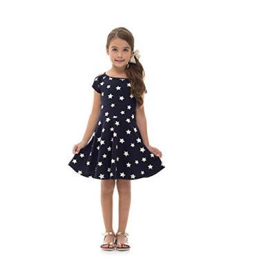 Vestido Infantil 4 ao 10 Pulla Bulla Ref. 38308 Cor:Azul Marinho;Tamanho:4