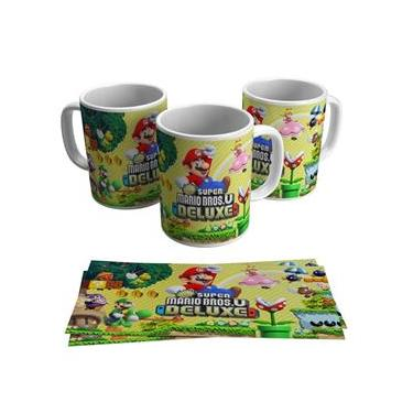 Caneca New Super Mario Bros U Deluxe Jogo Gamer Geek Game