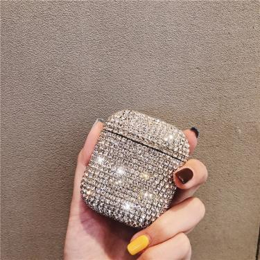 Luxo 3d bonito bling diamantes acessórios fone de ouvido sem fio bluetooth caso duro para apple 238007528