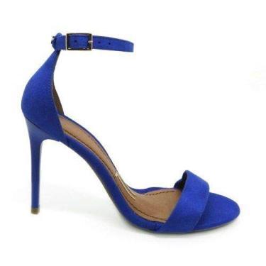 - Sandália Azul Royal Bic Camurça Salto Alto Fino Tirinha Tira