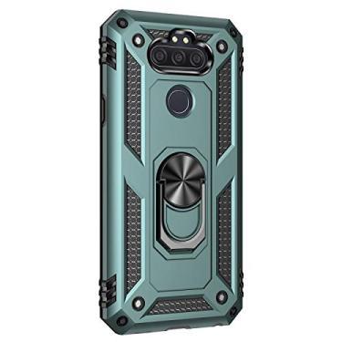 Hicaseer Capa para LG Aristo 5, policarbonato + TPU antiqueda antichoque anti-arranhões magnético rotação de 360 graus capa completa para LG Aristo 5 - verde escuro
