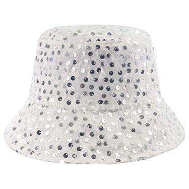PRETYZOOM Chapéu de verão com lantejoulas, chapéu de pescador, chapéu de verão respirável, chapéu de sol branco