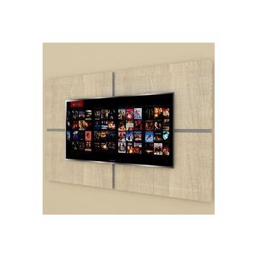 Painel Tv pequeno moderno amadeirado claro com cinza