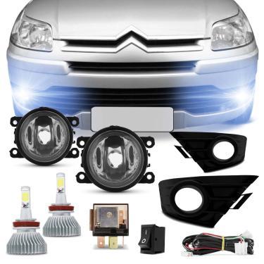 Kit Farol Milha C4 Hatch Pallas 2008 a 2012 com Par de Lâmpadas Super LED Headlight H11 6000K 6400LM