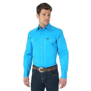 Imagem de Camisa de trabalho masculina Wrangler Premium Performance, Azul, Large