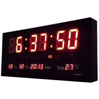 RELÓGIO de Parede LED Vermelho DIGITAL Alto Brilho com Termômetro Data e Hora 3x15x36