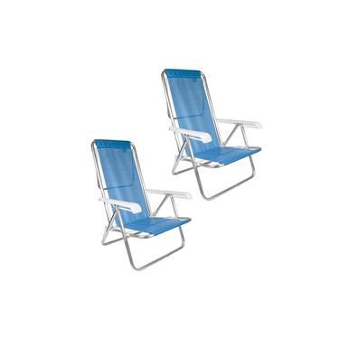 Kit 2 Cadeira De Praia Reclinável 8 Posições Alumínio Sannet - Mor