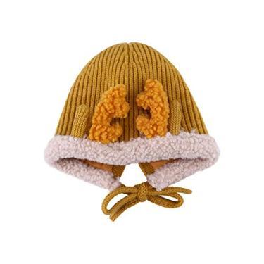 Toyvian Gorro de Natal Amarelo Chapéu de Bebê Quente Chapéu de Rena Interessante Adorável Gorro de Malha de Férias Gorro de Malha Gorro de Lã para O Inverno Ao Ar Livre