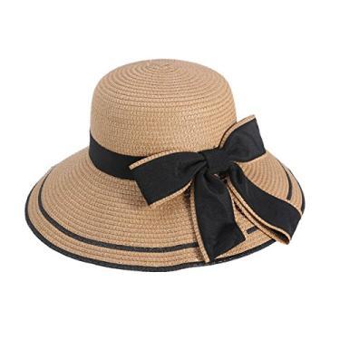 Fashinable chapéu feminino aba larga verão praia chapéu palha chapéu flexível (Cáqui)