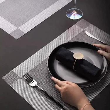 Imagem de Kit 6pçs Jogo Americano Sofisticado Pvc Mesa de Jantar Antiderrapante a Prova d'água (Cinza)
