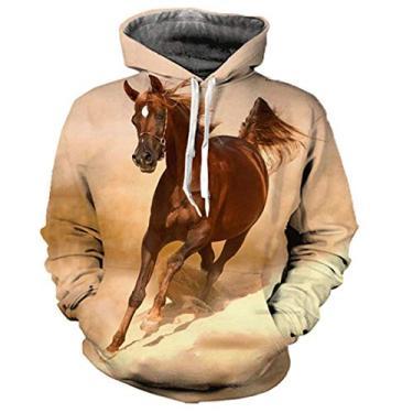 Blusa Moletom Canguru Masculino Full 3d Cavalo R 013 Tamanho:GG;Cor:Creme