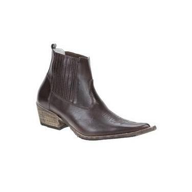 Bota Masculina Texana Bico Fino Cano Curto Couro Marrom - Via Boots 18779 bd1a8c17c12