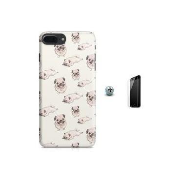 Kit Capa Case TPU iPhone 7 Plus - Pug Cachorro + Pel Vidro (BD50)