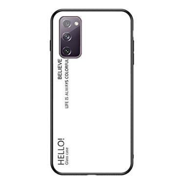 MOONCASE Capa para Galaxy S20 FE 5G, TPU macio ultra fino + vidro transparente + padrão de cor gradiente anti-impressão digital resistente a arranhões para Samsung Galaxy S20 FE 5G 6,5 polegadas – Branco