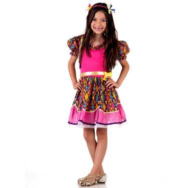 Imagem de Fantasia Caipira com Bolero rosa Infantil - Festa Junina P