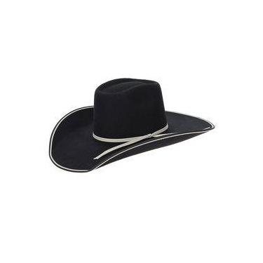 Chapéu de Cowboy Copa Alta Feltro Preto Texas Diamond 22875