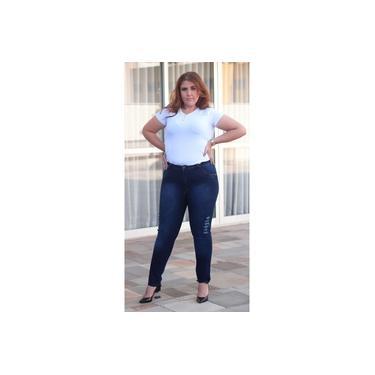 Calça Jeans Plus Size Feminina Skinny Estonado c/ Rasgos (7654)