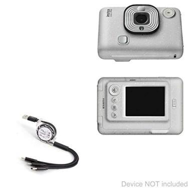 Cabo Fujifilm Instax Mini LiPlay, BoxWave [AllCharge miniSync] Retrátil, cabo USB portátil para Fujifilm Instax Mini LiPlay – Preto Jet
