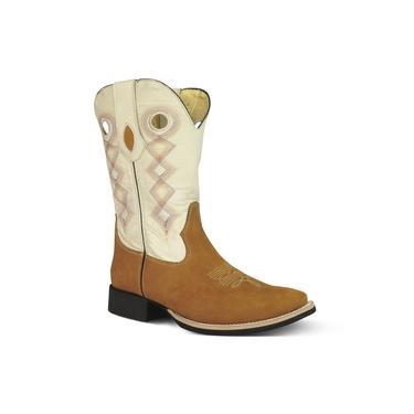 Bota Texana Masculina Couro Nobuck Caramelo E Mustang Marfim - Silverado Botas