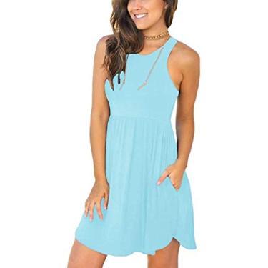 Vestido Hajotrawa feminino, solto, curto, casual, sem mangas, com bolsos, vestido simples, Nile Blue, M