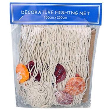Imagem de Q-XIAOKEAI Estilo mediterrâneo Tecido feito à mão DIY Rede de pesca Pendurado na parede à beira-mar Tema da praia Decoração de festa náutica Adereços de fotos para casa