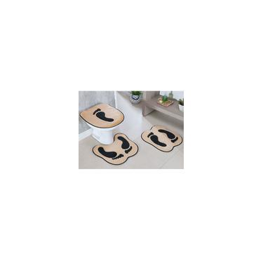 Imagem de Jogo De Tapete Para Banheiro 3 Peças Formato Pegada Bege