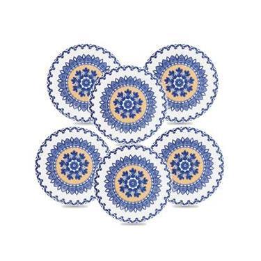 Conjunto de Pratos para Sobremesa Oxford La Carreta em Cerâmica 20cm – 6 Peças