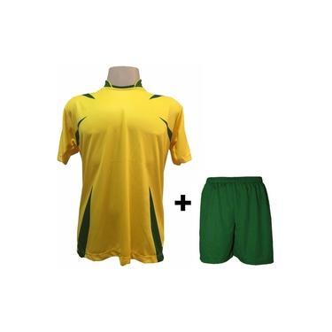 Imagem de Uniforme Esportivo com 14 camisas modelo Palermo Amarelo/Verde + 14 calções modelo Madrid + 1 Goleiro +