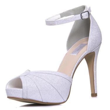 Sandália Durval Calçados Noiva Gliter Branco Salto Alto Plataforma- 86284 Branco 073200130108 feminino